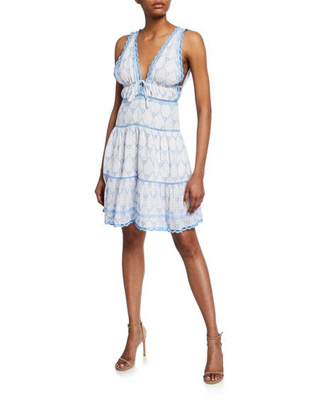 Embroidered Cotton V-Neck Mini Dress