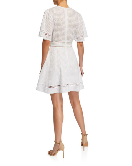 Eyelet Embroidered Fit-&-Flare Dress