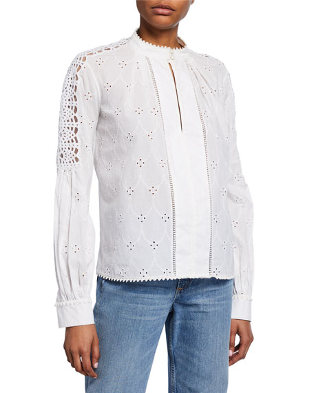 Image 1 of 1: Long-Sleeve Button-Down Eyelet Cotton Shirt w/ Lace Trim