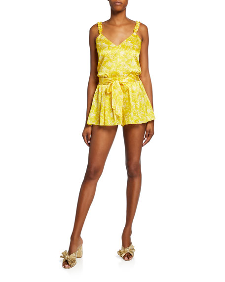 Printed Tie-Front Stretch-Silk Pleated Shorts