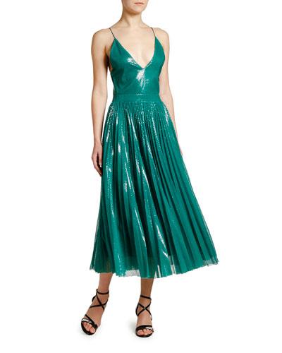 Shimmery V-Neck Pleated Cami Dress