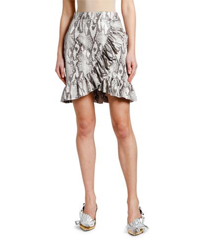 Snake Ruffle Wrap Skirt