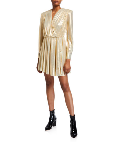 V-Neck Long-Sleeve Metallic Dress