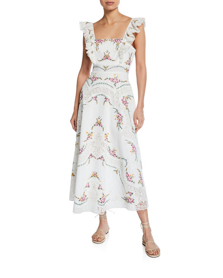 Image 1 of 1: Allia Floral Cross-Stitch Maxi Dress