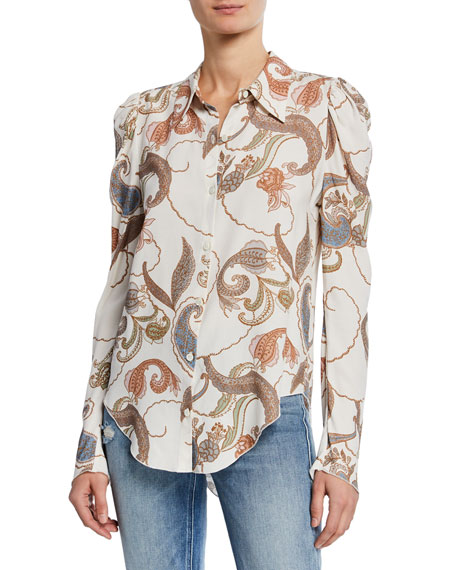 Image 1 of 1: Paisley-Print Long-Sleeve Button-Up Blouse