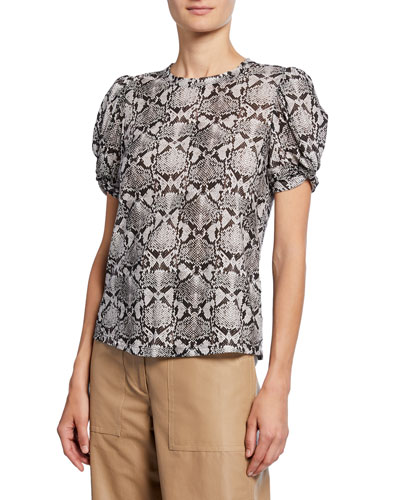 Kati Snake-Print Short-Sleeve Cotton Tee
