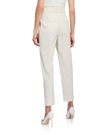 Diego Belted Skinny-Leg Stretch-Linen Ankle Pants