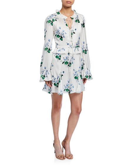 Ruffle Long-Sleeve Floral Mini Dress with Godet Skirt