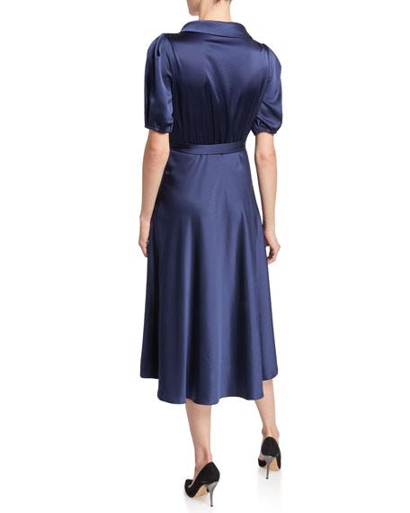 Valentina Satin Midi Wrap Dress