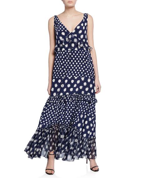 Misha Printed Silk Ruffle Maxi Dress