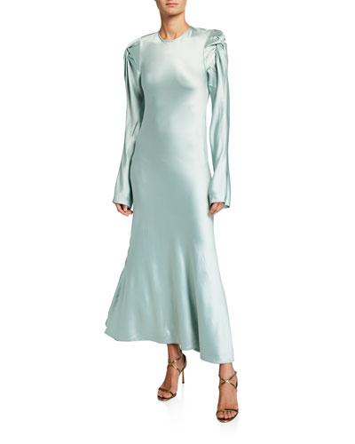 Love Me Knot Satin Long-Sleeve Dress