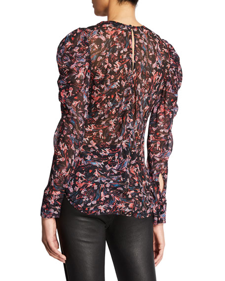 Lou Printed Crewneck Ruched-Sleeve Top