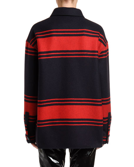Collared Wool Striped Button-Down Shirt