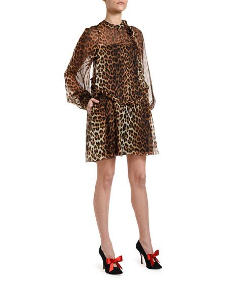 Leopard Tie-Neck Blouson-Sleeve Keyhole Mini Silk Dress