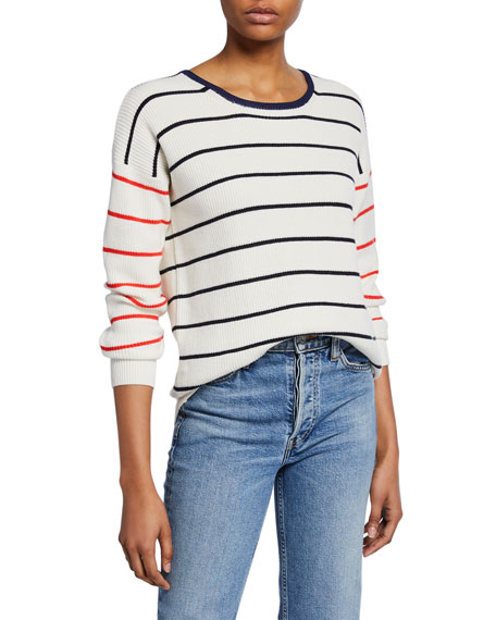 Image 1 of 1: Striped Long-Sleeve Crewneck Top