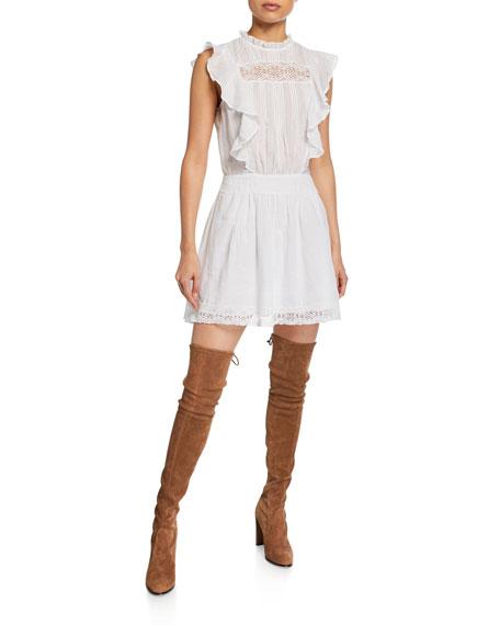 Lace Pintuck Short Dress with Ruffles