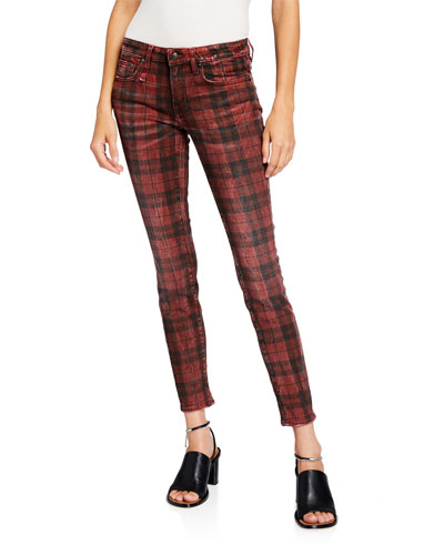 Kate Plaid Mid-Rise Ankle Skinny Jeans