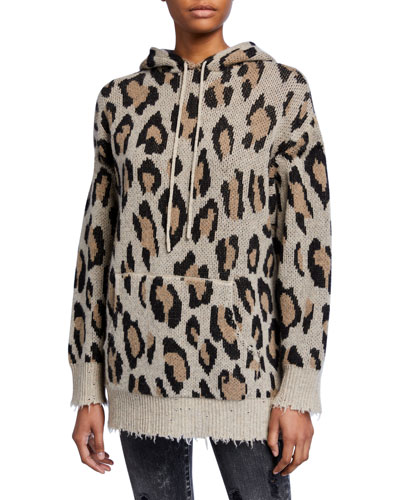 Cashmere Leopard-Print Pullover Hoodie