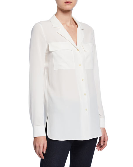Image 1 of 1: Maximina Sandwashed Button-Down Blouse with Notch Collar