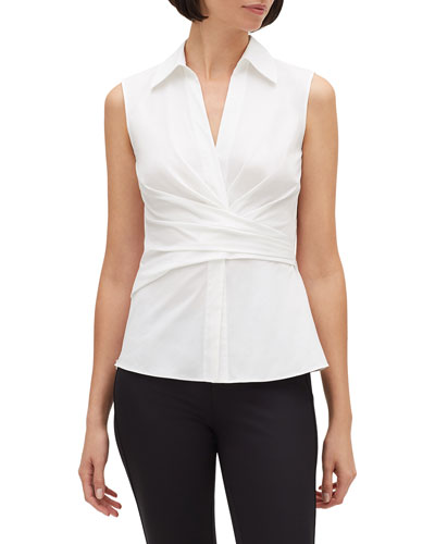 Veruca Sleeveless Stretch-Cotton Blouse