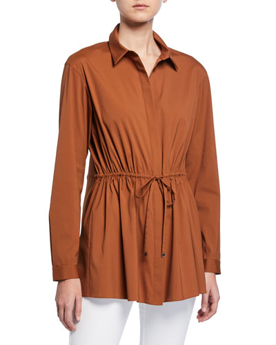 Lisa Italian Stretch-Cotton Button-Down Blouse w/ Drawstring-Waist