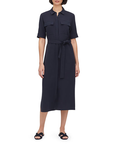 Doha Button-Front Short-Sleeve Finesse Crepe Shirtdress