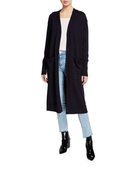 Merino Wool Lightweight Button-Front Long Cardigan