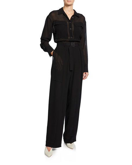 Long-Sleeve Semi-Sheer Button-Front Belted Crinkle Jumpsuit