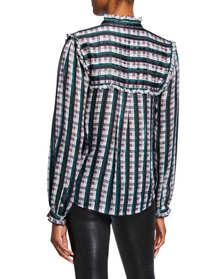 Striped Plaid Button-Down Ruffle Blouse
