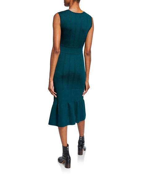Crewneck Sleeveless Midi Knit Pointelle Dress