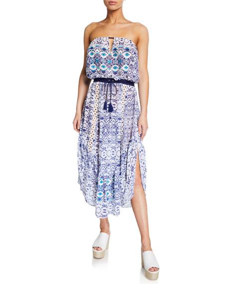 Luna Printed Strapless Dress