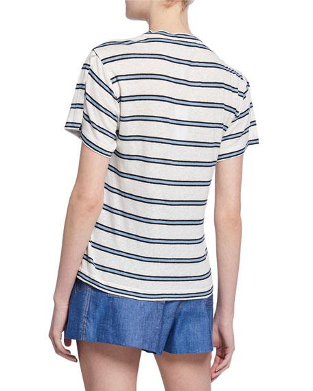 Striped Crewneck Short-Sleeve Tee w/ Slit Detail