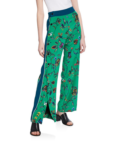 Floral-Print Track Pant with Side-Snap Detail