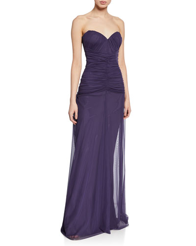 Deni Strapless Ruched Tulle Bustier Column Gown