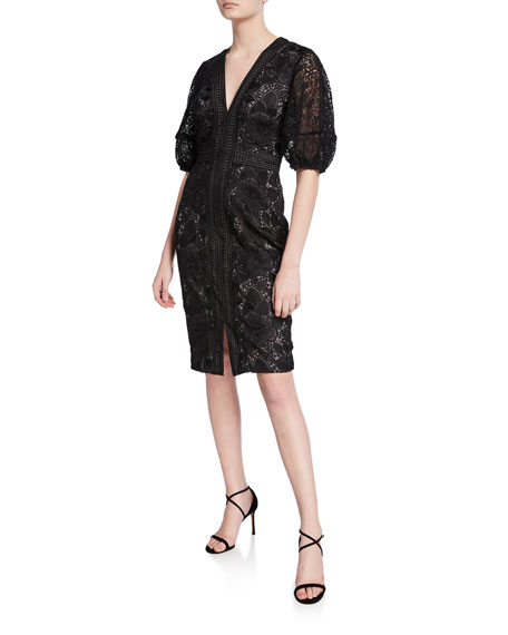 Image 1 of 1: V-Neck Blouson-Sleeve Lace Sheath Dress