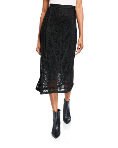 Crochet Midi Viscose Skirt