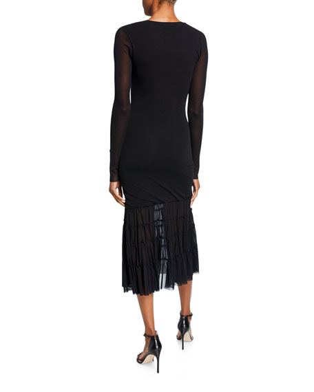 Long-Sleeve V-Neck Midi Dress