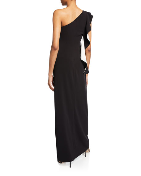 Flounce One-Shoulder Crepe Column Gown with Slit
