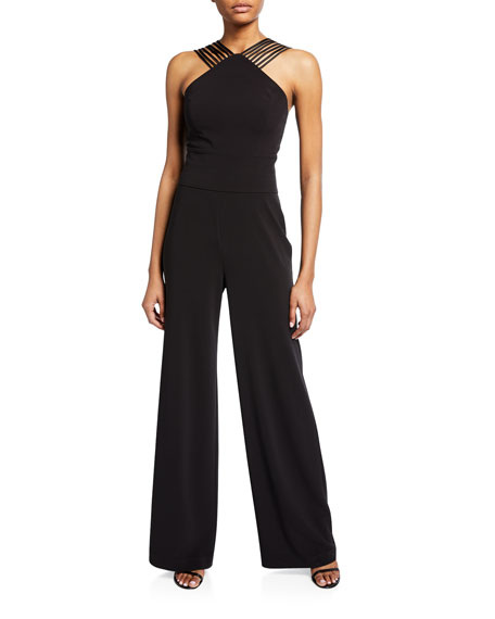Image 1 of 1: Sleeveless Multi Stripe Wide-Leg Jumpsuit