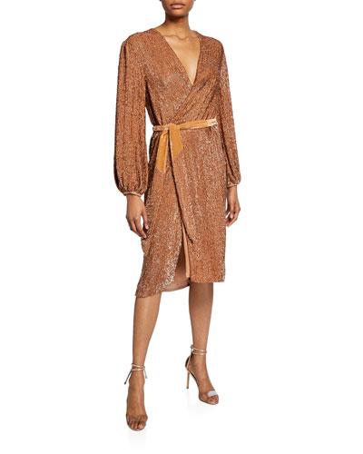 Audrey Sequined Wrap Cocktail Dress