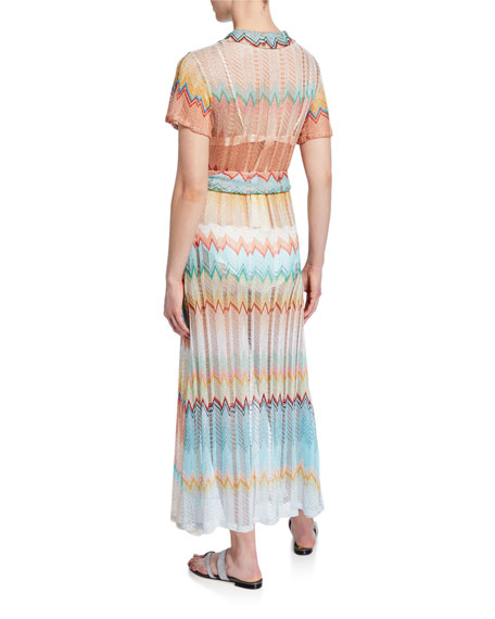 Knit Zigzag Button-Front Caftan