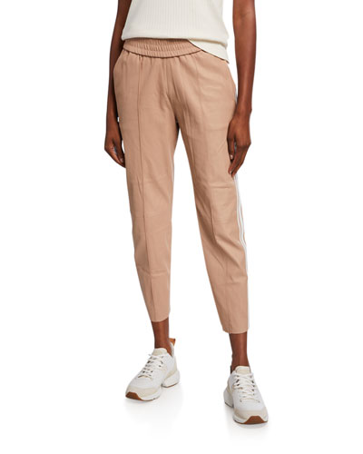 Slim Leather Jogger Pants with Side Stripes