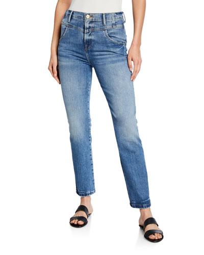 Retro V-Yoke Straight-Leg Jeans