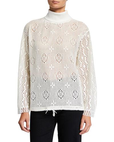 Turtleneck Lace Long-Sleeve Top