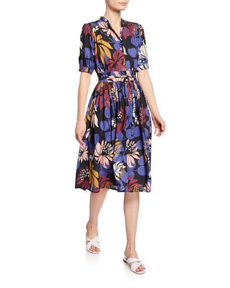 Floral-Print Short-Sleeve Tie-Waist Shirtdress