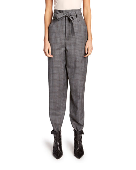 Image 1 of 1: Vittoria High-Rise Check Wool Pants