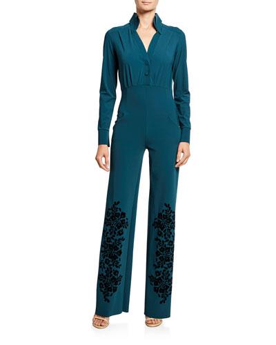 Long-Sleeve Tuxedo Jumpsuit with Velvet Flocked Pant
