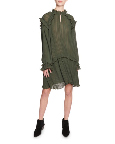 Crinkle Drop-Waist Long-Sleeve Ruffle Dress