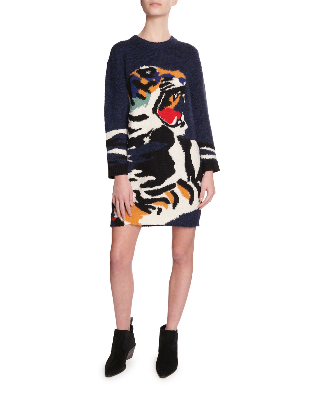 Tiger Intarsia Sweater Dress by Kenzo
