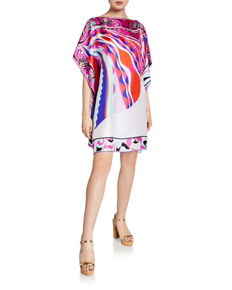 Printed 1/2-Sleeve Silk Short Dress